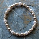 """[008] Elastic Coffee and Light Pink 7"""" Glass Pearl Bracelet"""