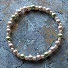 "[009] Elastic Coffee and Green 7"" Glass Pearl Bracelet"