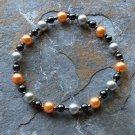 "[011] Elastic Orange and Grey 6.5"" Glass Pearl Bracelet"