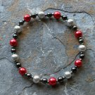 "[012] Elastic Red and Grey 6.5"" Glass Pearl Bracelet"