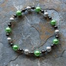 "[015] Elastic Green and Grey 6.5"" Glass Pearl Bracelet"
