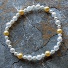 "[023] Elastic White and Yellow 7.25"" Glass Pearl Bracelet"