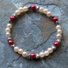 "[032] Elastic Pink and Red 6.75"" Glass Pearl Bracelet"