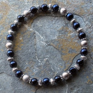 "[050] Elastic Blue and Silver 7.25"" Glass Pearl Bracelet"