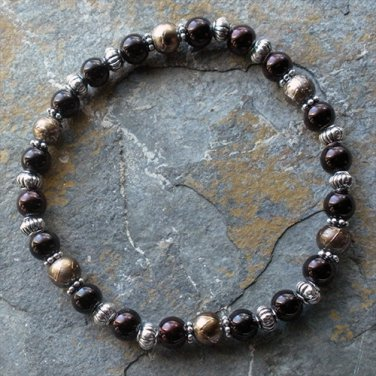 """[051] Elastic Brown and Gold 7.25"""" Glass Pearl Bracelet"""
