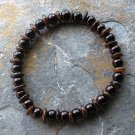 "[053] Elastic Amber and Brown 7"" Glass Pearl Bracelet"