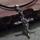 Charm Necklace - Antique Silver Cross of Roses Pendant