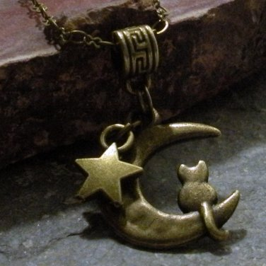 Bronze Cat Sitting on a Crescent Moon ( Sailor Moon )