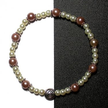 Kazumi Elastic Glass Pearl Bracelet [09] Light Coffee