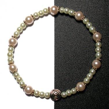 Kazumi Elastic Glass Pearl Bracelet [22] Light Rose Pink