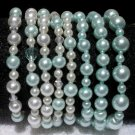 Soraya Princess Bracelets - Baby Blue Glass Pearls ( Set of 8 )