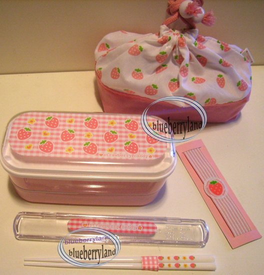 Japan Strawberry Candy Bento Lunch Box Food case 5pc Set