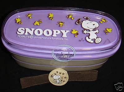 SNOOPY 2-tier Bento Lunch Box Food Container Belt JAPAN