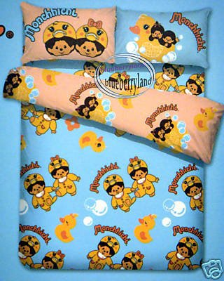 Monchhichi Double Size Bedding Set of 1 Fitted Sheet & 2 Pillow Cases + 1 Duvet Cover (set of 4)
