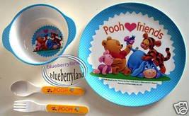 Disney Winnie The Pooh Baby Feeding Plate Fork Spoon Bowl Set