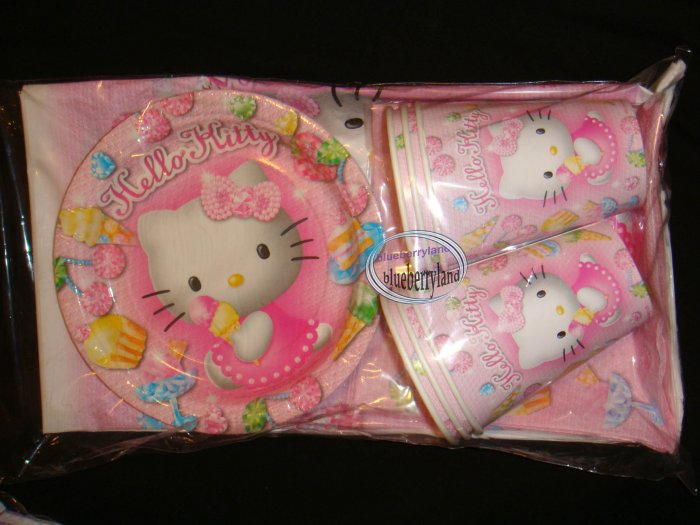 Sanrio Hello Kitty Party Supplies Plate Cup Napkins Tablecloth