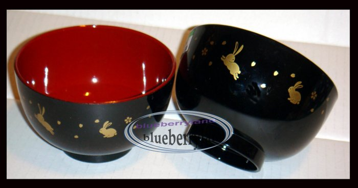 Japanese Made Rice Soup Bowl Sakura Usagi Black x 2 Pcs set Lacquered ware