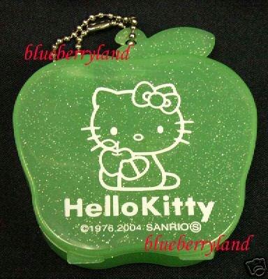 Japan Sanrio Hello Kitty Apple Women Ladies Girl Accessories Box Case  Green