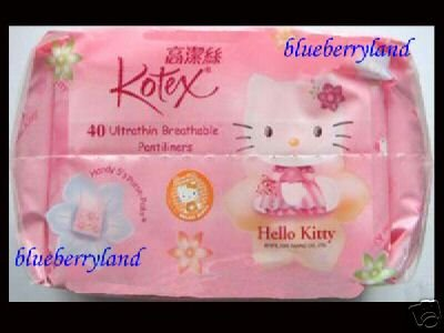 Sanrio HELLO KITTY Kotex 40 Pantiliners Sanitary bathroom lady