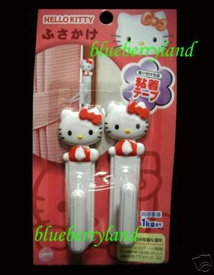 Sanrio HELLO KITTY Adhesive Hook holder for Window Curtain kitchen Toilet Bedroom l x 2 Pcs