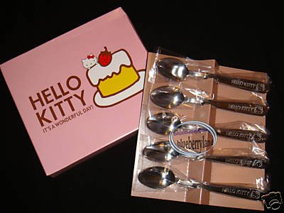 Sanrio HELLO KITTY Dessert Cake Ice Cream Coffee Spoon 5Pc Set