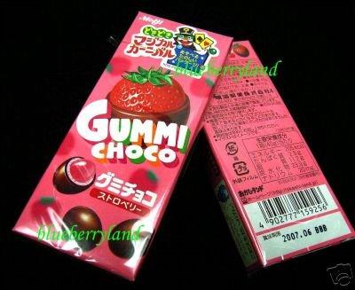 JAPAN Meiji STRAWBERRY GUMMI CHOCO CANDY woman snack  x 2 Pack