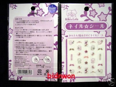 Sanrio Little Twin Stars Glitter Nail Art Sticker Decal ladies girls 2 Pcs Set