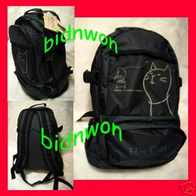 Hot Cats Black Satchel Backpack Rucksack School College Camping Bag cat