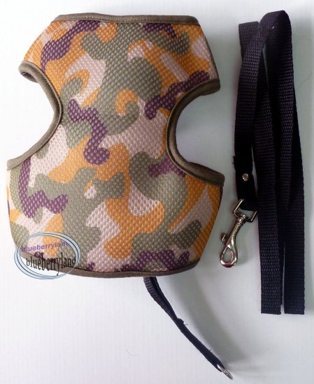 "Puppy Dog Apparel Camo Mesh Harness Vest & Lead Leash Set Large 19"" - 27"" Green"