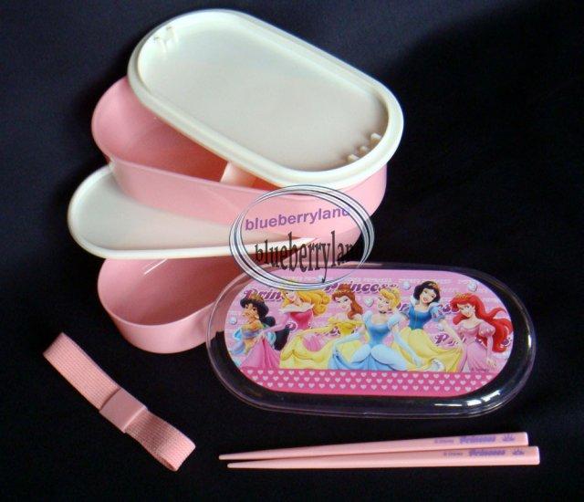 disney princess pink 2 tier bento lunch box chopstick belt 3 pcs set case. Black Bedroom Furniture Sets. Home Design Ideas