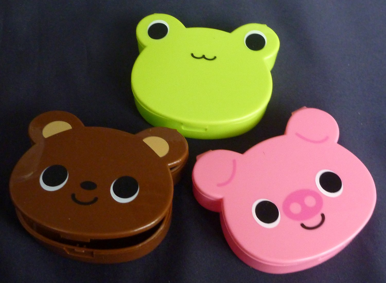 Japan Pig Bear Frog Accessories Multi purpose plastic Pill Storage Box Case