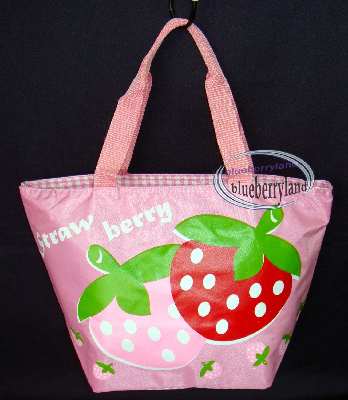 Strawberry School Lunch Box Bag Sports Beach Weekend Tote BAG purse Handbag Pink