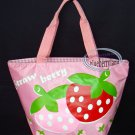 Strawberry School Lunch Box Bag Sports Beach Weekend Tote BAG purse Handbag Pink