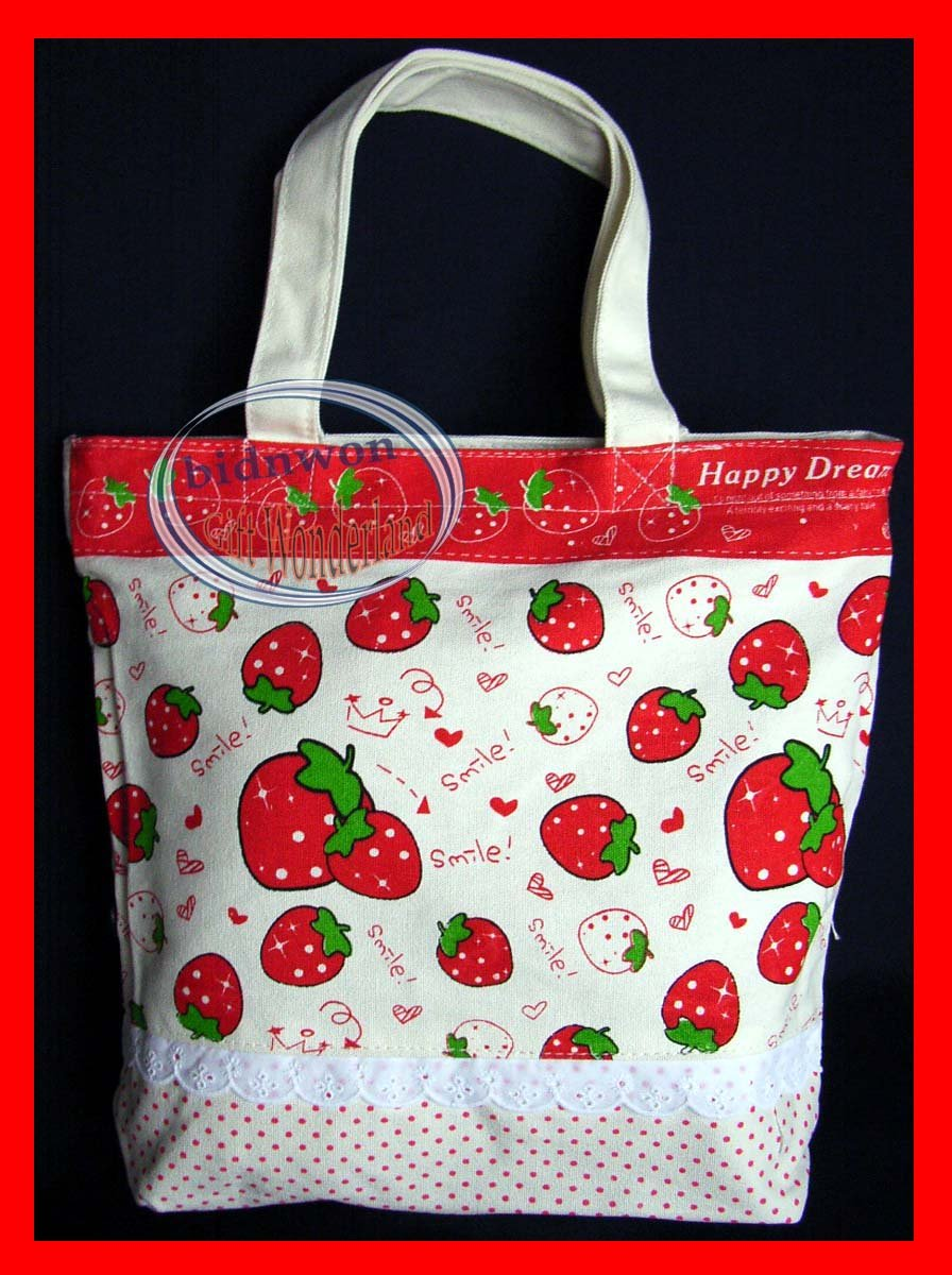 Strawberry Satchel Tote Bag Back to School Tote Purse Shopping Bag Weekend Bag White