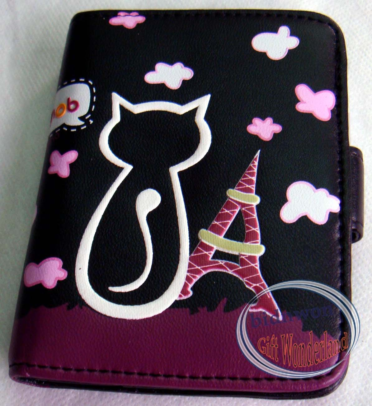 Stylish Cool Cat ID Credit Card Name Card Organizer Holder Black