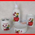 Hello Kitty Ceramic Bathroom Set Soap Dispenser Apple