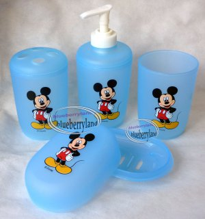 Disney Mickey Mouse Bath Set Of Tumbler Toothbrush Holder Soap Dish Dispenser Blue