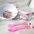 Sanrio Hello Kitty Baby Feeding Fork Spoon Bowl Cup with Lid 4 Pcs Set