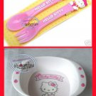 Sanrio Hello Kitty Baby Feeding Bowl Fork Spoon 3 Pcs Set