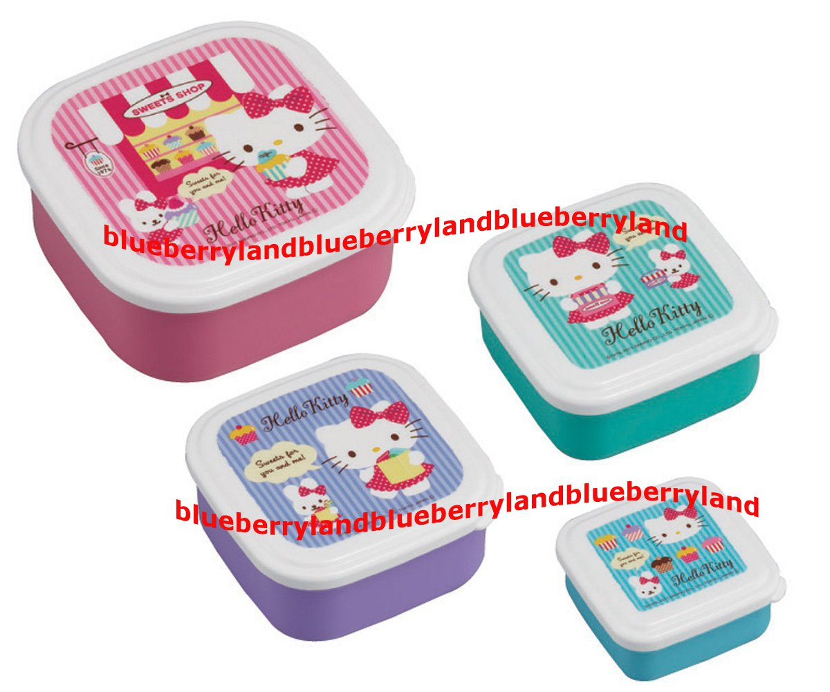 Sanrio Hello Kitty Bento Lunchbox Food Container case 4pc set K12