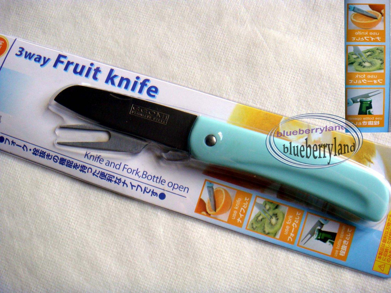 Japan Kitchen Tool 3 Ways Fruit Knife Fork Bottle Opener