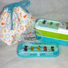 Japan Bento 2-Tier Lunch Box Set Belt fork spoon chopsticks kitchen lunchbox S