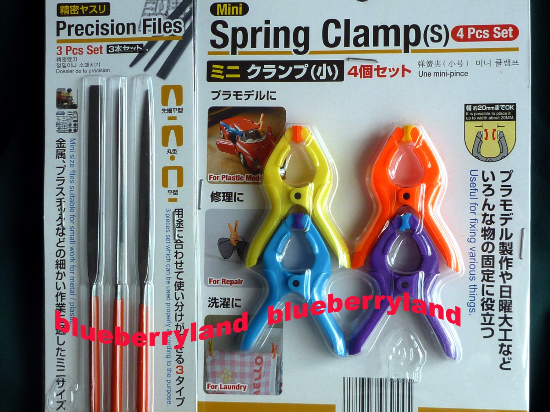 Japan 3 Pcs Set Precision Files needle file set repair hobby craft tool & 4 Pcs Set Spring Clamp