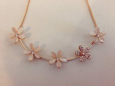Cat Eye Opal Flower Crystal Chocker Necklace Fashion Rhinestone Jewelry Jewellery women ladies girls