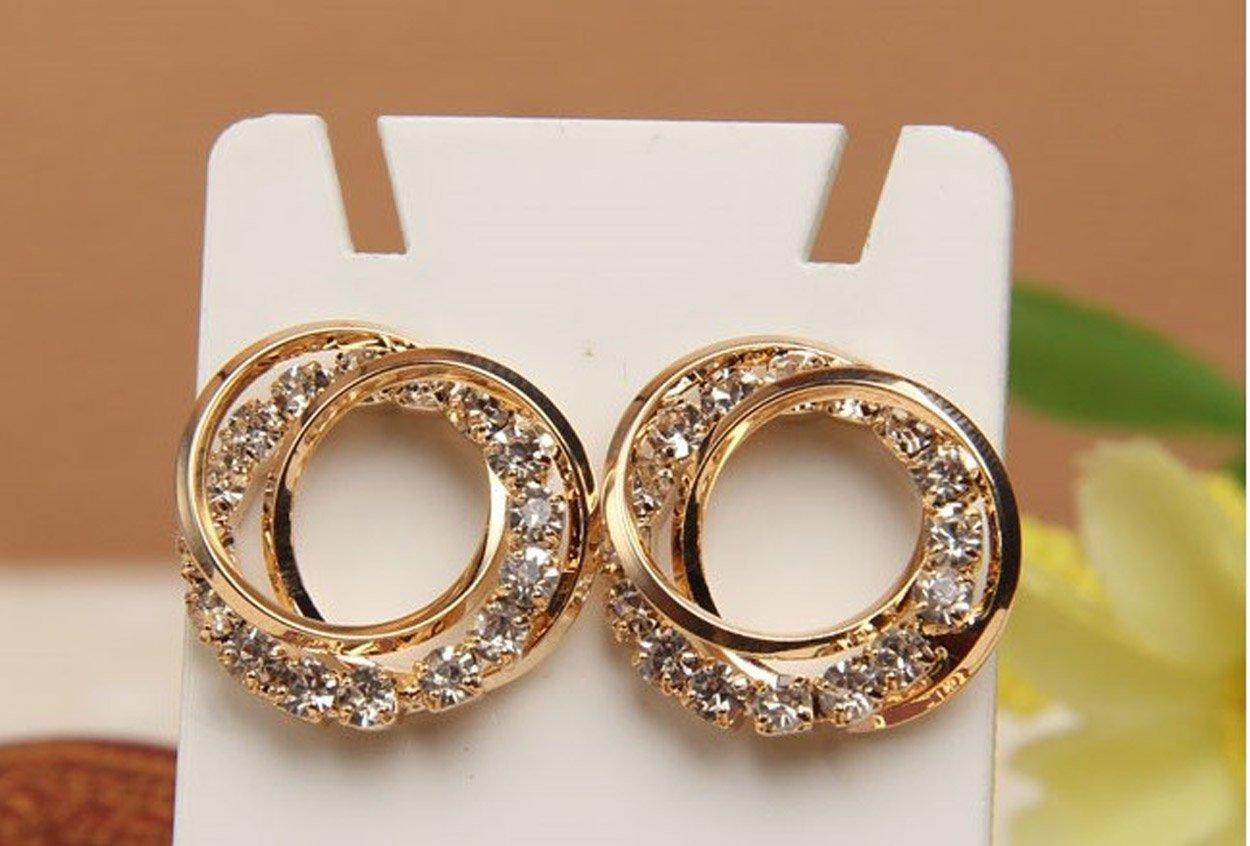 Crisscross Crystal Hoop Earrings Fashion Rhinestone Jewelry Jewellery women ladies girls