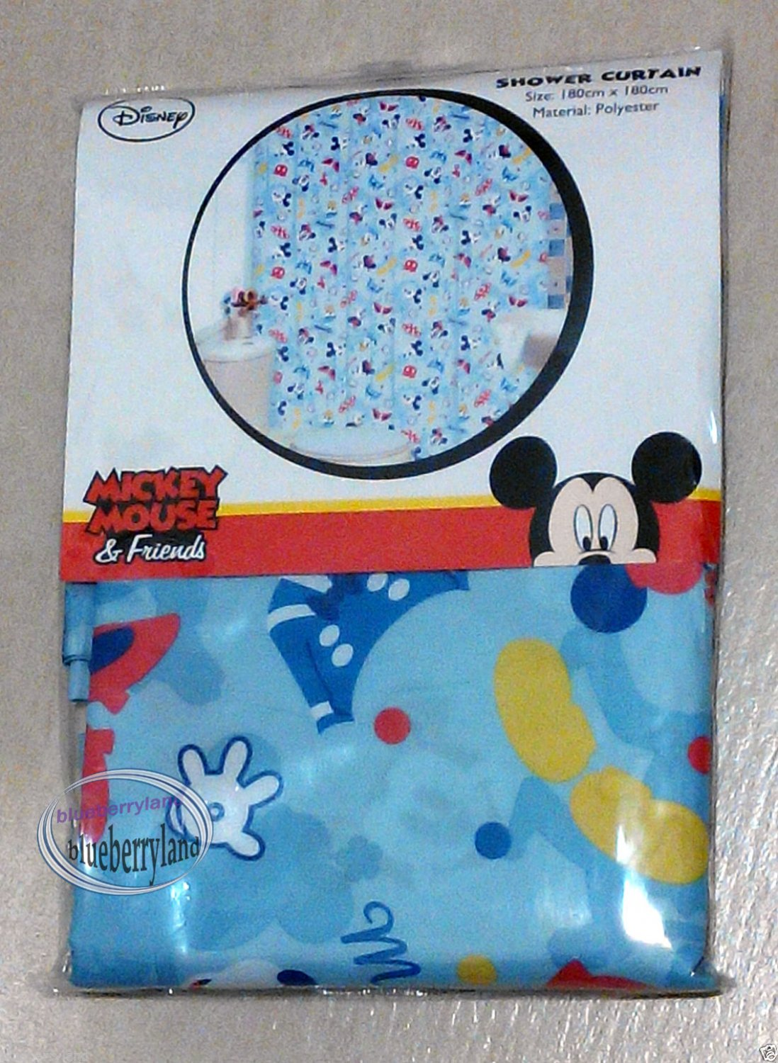 Disney Mickey Mouse Shower Curtain Bathroom Accessories Household Blue