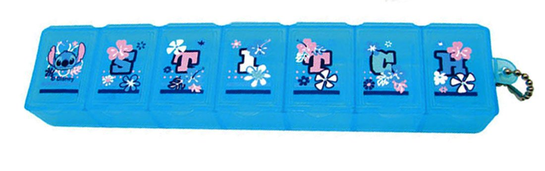 Disney STITCH Pill Case Box holder dispenser keeper organizer 7 slots Q3