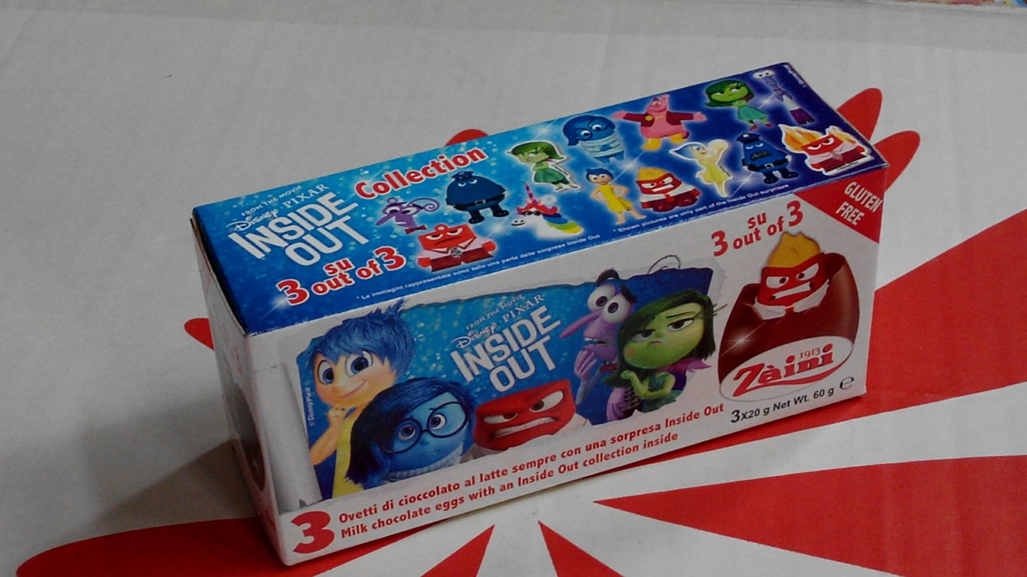 Zaini Disney Pixar INSIDE OUT Chocolate Surprise 3 Eggs With Toy Figure Inside choco ladies kid