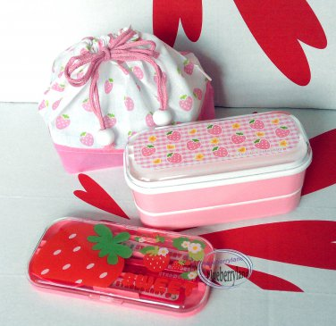 japan strawberry candy bento lunch box food case cutlery set. Black Bedroom Furniture Sets. Home Design Ideas