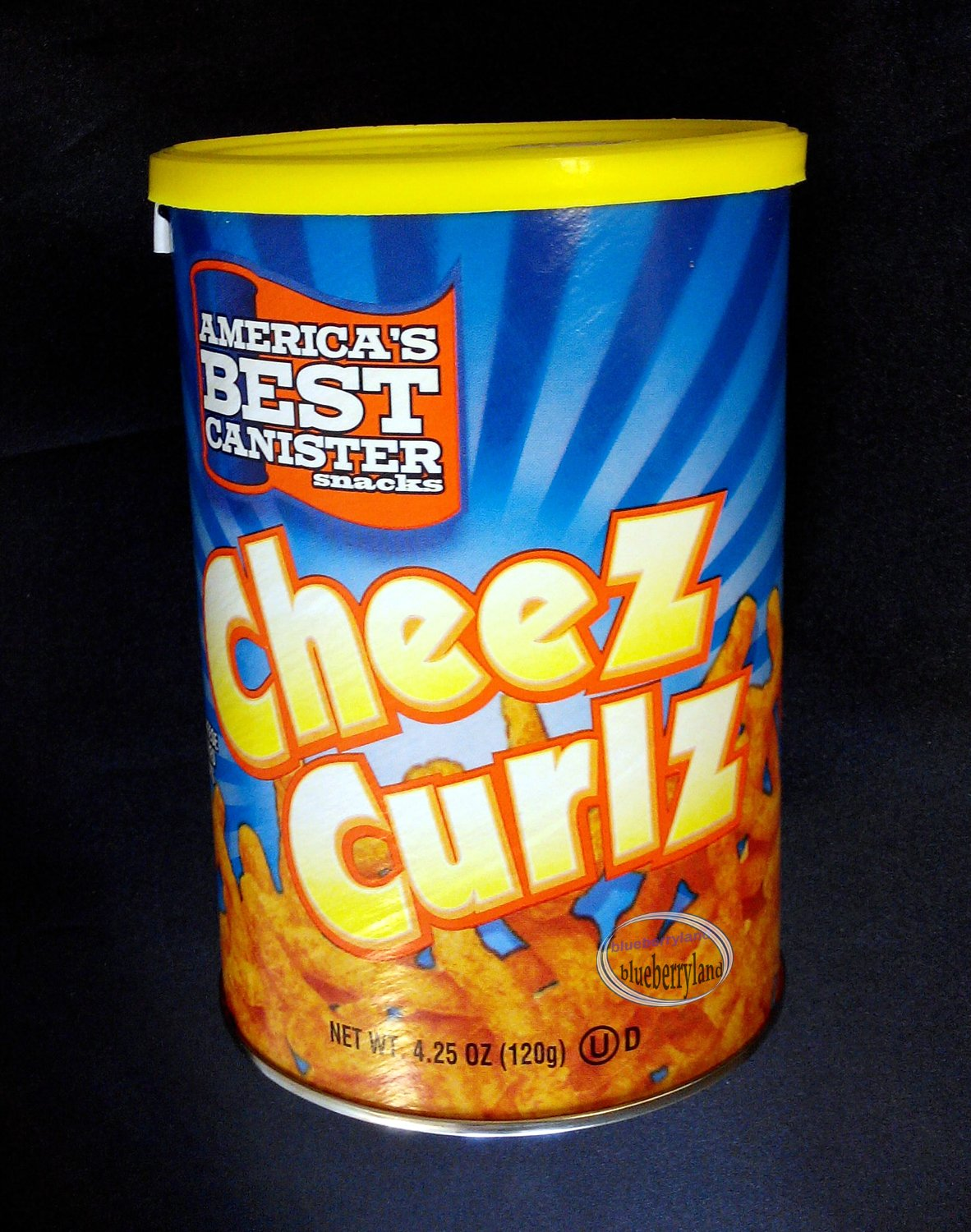 America's Best Canister Cheez Curlz crunchy cheese flavored curl stick Snack 4.25 oz. (120.5 g)